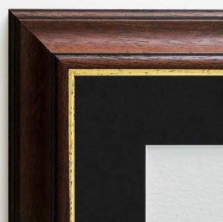 Bilderrahmen Genua in Braun Gold Antik Passepartout in Schwarz 4, 3 - alle Größen