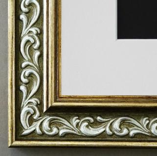 Bilderrahmen Verona in Grün Gold mit Passepartout in Weiss 4, 4 - NEU alle Größen