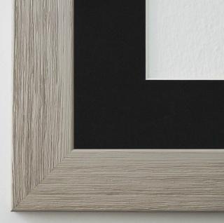 Bilderrahmen Florenz Grau struk. mit Passepartout in Schwarz 4, 0 Top Qualität