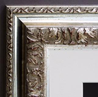 Bilderrahmen Rom in Silber Barock mit Passepartout in Weiss 6, 5 - alle Größen