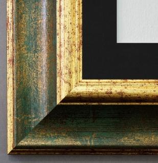Bilderrahmen Acta in Grün Gold mit Passepartout in Schwarz 6, 7 - NEU alle Größen