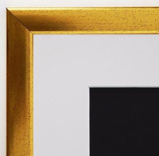 Bilderrahmen Hannover in Gold Antik mit Passepartout in Weiss 2, 4 - alle Größen