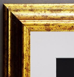 Bilderrahmen Bari in Gold Klassisch mit Passepartout in Weiss 4, 2 - alle Größen