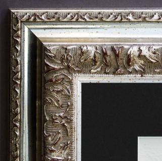 Bilderrahmen Rom in Silber Barock mit Passepartout in Schwarz 6, 5 - alle Größen