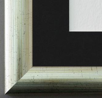 Bilderrahmen Imola Silber geb. mit Passepartout in Schwarz 3, 6 - NEU alle Größen
