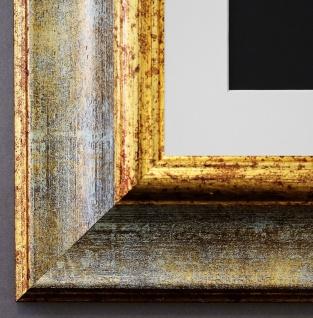 Bilderrahmen Acta in Grau - Gold mit Passepartout in Weiss 6, 7 - NEU alle Größen