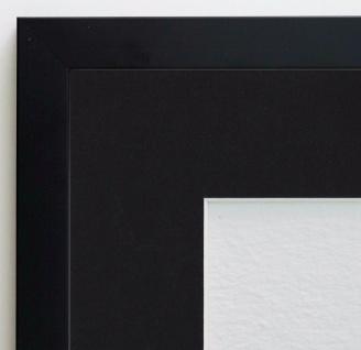 Bilderrahmen Neapel Schwarz Modern mit Passepartout in Schwarz 2, 0 - alle Größen