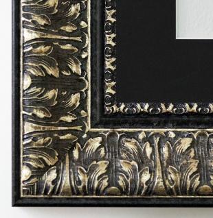 Bilderrahmen Ancona Schwarz Silber mit Passepartout in Schwarz 7, 5 alle Größen