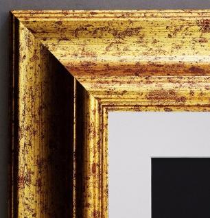Bilderrahmen Acta Gold Antik gemasert mit Passepartout Weiss 6, 7 - alle Größen