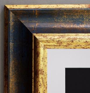 Bilderrahmen Acta in Blau Gold Antik mit Passepartout in Weiss 6, 7 - alle Größen