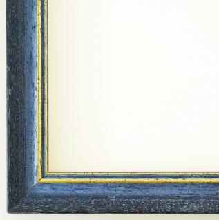 Bilderrahmen Rahmen Holz Foto Urkunden Antik Barock Braunschweig Blau Gold 2, 5