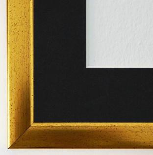 Bilderrahmen Hannover in Gold mit Passepartout in Schwarz 2, 4 Top Qualität