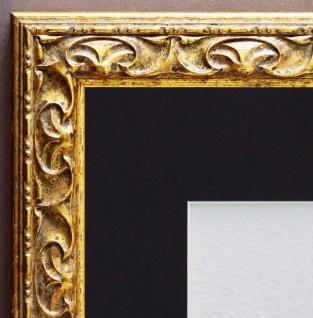 Bilderrahmen Mantova in Gold Antik mit Passepartout in Schwarz 3, 1 - alle Größen