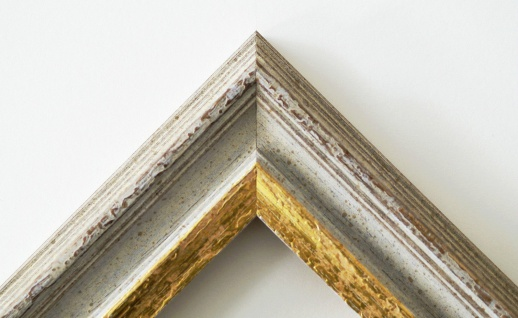 Bilderrahmen Trento Beige Gold Antik Passepartout in Schwarz 5, 4 - alle Größen