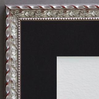 Bilderrahmen Brescia Silber Barock mit Passepartout in Schwarz 2, 0 - alle Größen