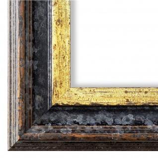 Bilderrahmen Schwarz Gold Klassisch Retro Holz Trento 5, 4 - NEU alle Größen