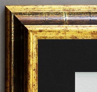 Bilderrahmen Bari in Gold Braun Antik Passepartout in Schwarz 4, 2 - alle Größen