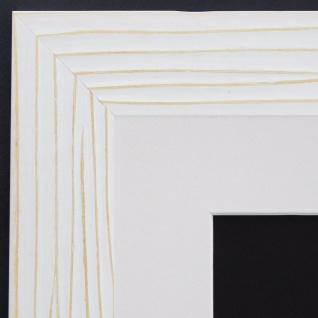 Bilderrahmen Köln Weiss Struktur Antik mit Passepartout Weiss 4, 5 - alle Größen