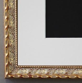 Bilderrahmen Brescia in Gold mit Passepartout in Weiss 2, 0 Top Qualität