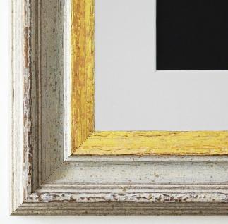 Bilderrahmen Trento Beige Gold mit Passepartout in Weiss 5, 4 - NEU alle Größen