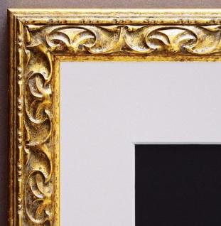 Bilderrahmen Mantova in Gold Barock mit Passepartout in Weiss 3, 1 - alle Größen