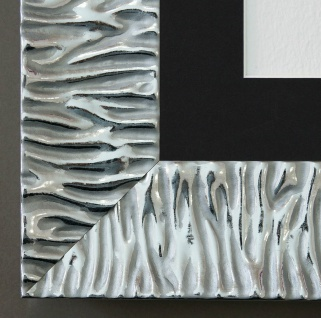 Bilderrahmen Bologna in Silber mit Passepartout in Schwarz 6, 2 - NEU alle Größen