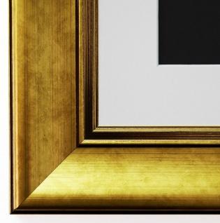 Bilderrahmen Flensburg in Gold mit Passepartout in Weiss 5, 5 Top Qualität
