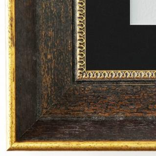 Bilderrahmen Monza dkl. Braun Gold mit Passepartout Schwarz 6, 7 - NEU jede Größe