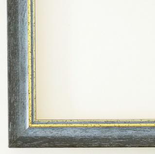 Bilderrahmen Grau Blau Gold Antik Rahmen Klassisch Braunschweig 2, 5 alle Größen