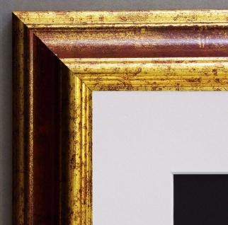 Bilderrahmen Bari Rot Gold Klassisch mit Passepartout in Weiss 4, 2 - alle Größen