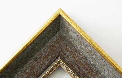 Bilderrahmen Monza Grau Gold Antik mit Passepartout in Schwarz 6, 7 - alle Größen