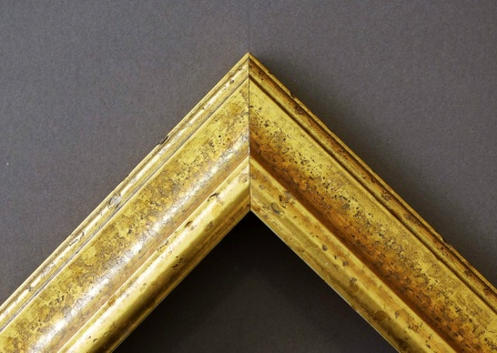 Bilderrahmen Genua in Gold Antik mit Passepartout in Schwarz 4, 3 - alle Größen