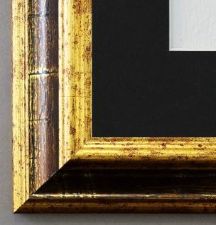 Bilderrahmen Bari Gold Braun mit Passepartout in Schwarz 4, 2 - NEU alle Größen