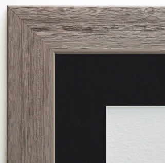 Bilderrahmen Florenz in Grau Antik mit Passepartout in Schwarz 4, 0 - alle Größen
