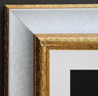 Bilderrahmen Acta in Weiss Gold Antik Passepartout in Weiss 6, 7 - alle Größen