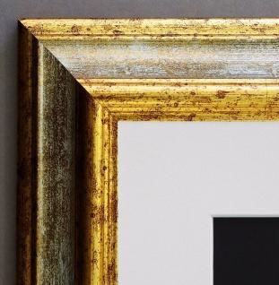 Bilderrahmen Bari in Grau Gold Klassisch Passepartout in Weiss 4, 2 - alle Größen