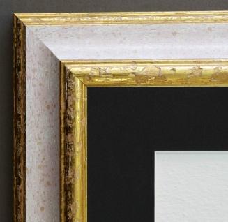 Bilderrahmen Genua in Weiss Gold Antik Passepartout in Schwarz 4, 3 - alle Größen