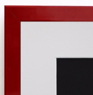 Bilderrahmen Como in Rot Lack Modern mit Passepartout in Weiss 2, 0 - alle Größen