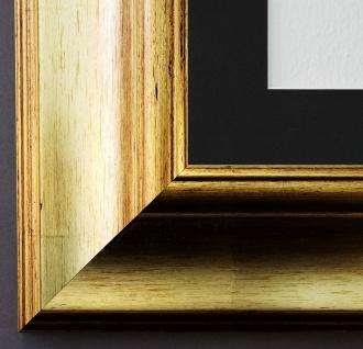 Bilderrahmen Acta in Gold mit Passepartout in Schwarz 6, 7 - NEU alle Größen