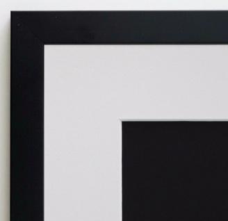 Bilderrahmen Neapel Schwarz Modern mit Passepartout in Weiss 2, 0 - alle Größen