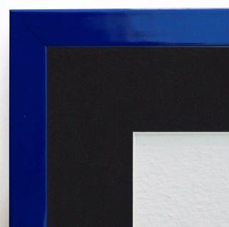 Bilderrahmen Como in Blau Lack Modern Passepartout in Schwarz 2, 0 - alle Größen
