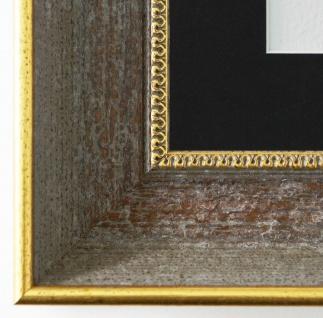 Bilderrahmen Monza Grau Gold mit Passepartout in Schwarz 6, 7 - NEU alle Größen