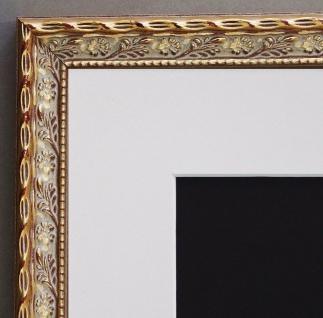 Bilderrahmen Brescia in Gold Barock mit Passepartout in Weiss 2, 0 - alle Größen