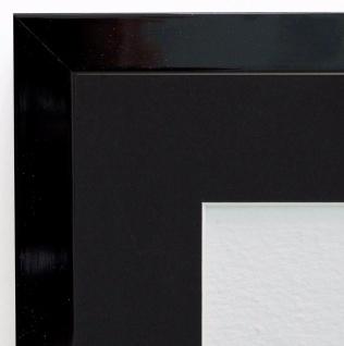 Bilderrahmen Como Schwarz Lack Modern Passepartout in Schwarz 2, 0 - alle Größen