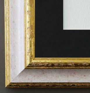 Bilderrahmen Genua Weiss Rot Gold mit Passepartout Schwarz 4, 3 - NEU alle Größen