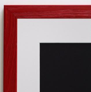 Bilderrahmen Siena in Rot Modern mit Passepartout in Weiss 2, 0 - alle Größen
