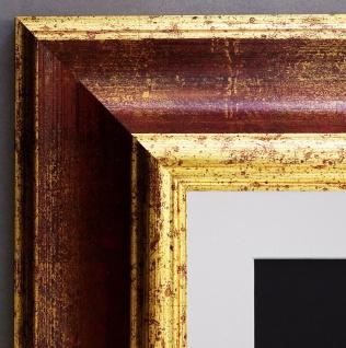 Bilderrahmen Acta in Rot Gold Antik mit Passepartout in Weiss 6, 7 - alle Größen