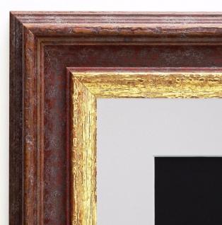Bilderrahmen Trento in Braun Gold Antik Passepartout in Weiss 5, 4 - alle Größen