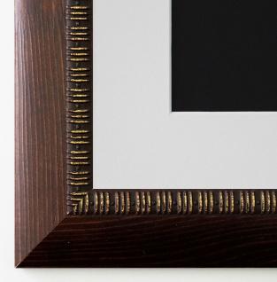Bilderrahmen Turin in Braun mit Passepartout in Weiss 4, 0 - NEU alle Größen