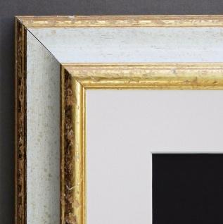 Bilderrahmen Genua Weiss Gold Art Deco Passepartout in Weiss 4, 3 - alle Größen